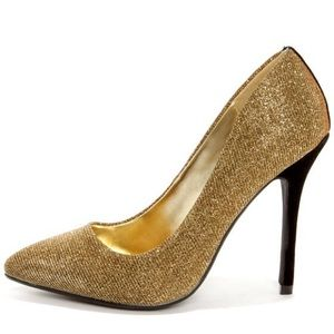 Bamboo Spiral 12 Gold Glitter Pointed Pumps